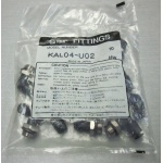 "Bag of SMC KAL04-U02 5/32, 4MM X UNI 1/4"" pneumatic push on elbow fittings NEW"